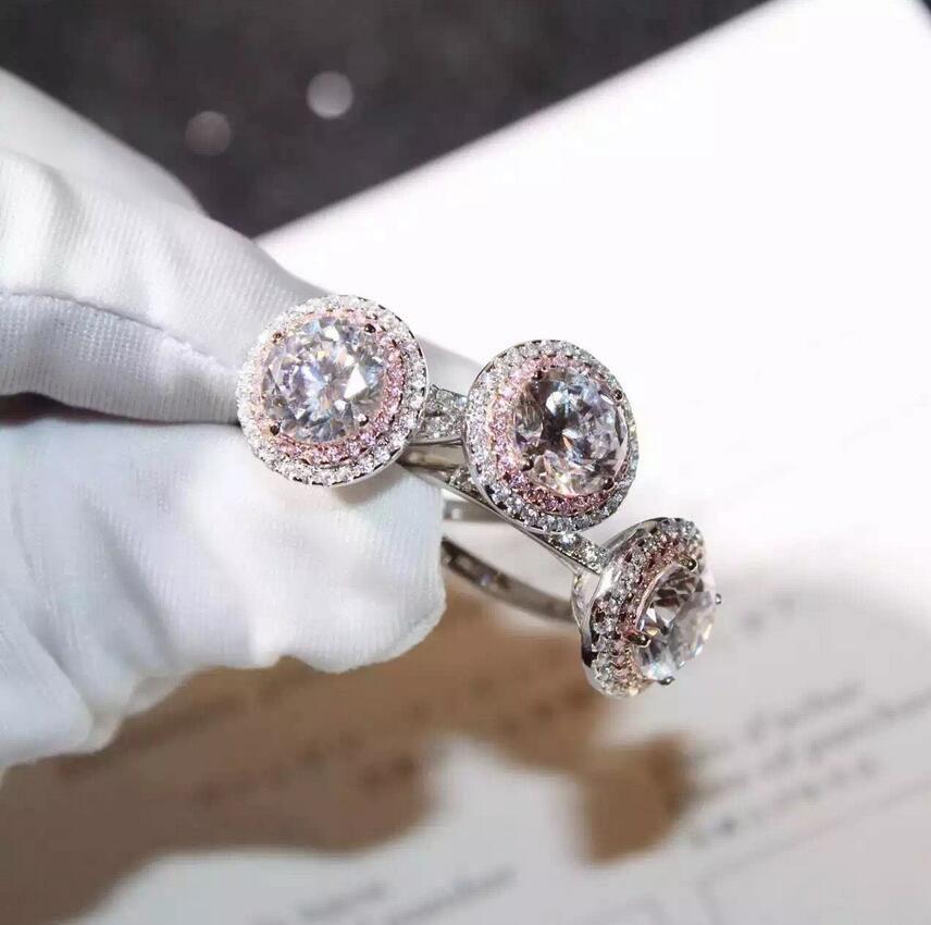 فيكتوريا Wieck اليدوية الفاخرة والمجوهرات 925 فضة جولة قص PinkWhite الياقوت تشيكوسلوفاكيا الماس الأحجار الكريمة لون المرأة خاتم الزواج