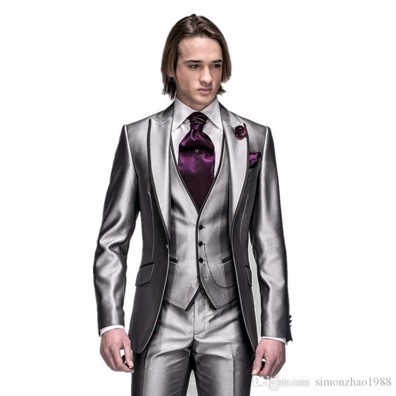 2018 Classic Mens Wedding Suits Custom Made Peak Lapel Men Suits Shiny Sliver Groom Tuxedos Groomsmen Party Suits  jacket+Pants+vest+tie
