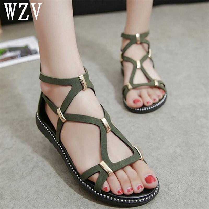 3329b210aa875f WZV 2018 New Women Sandals Hot Sale Fashion Summer Sweet Women Flats Heel  Sandals Ladies Shoes Black Green K043 Shoes Uk Flat Sandals From  Vikiipedia
