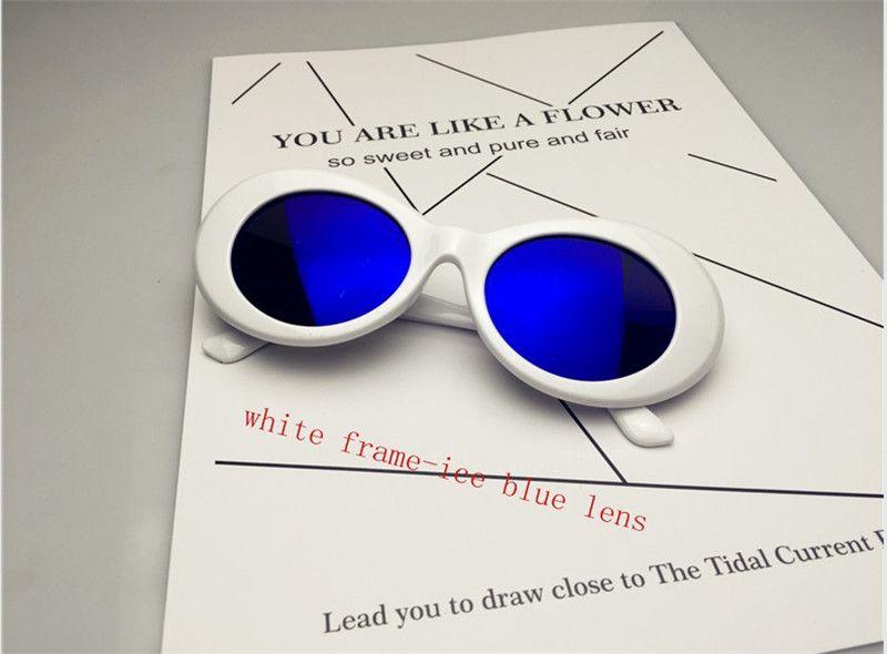 النفوذ نظارات NIRVANA كورت كوبين النظارات الكلاسيكية خمر ريترو أبيض أسود البيضاوي نظارات الغريبة ظلال 90S نظارات شمسية الشرير الصخرة نظارات