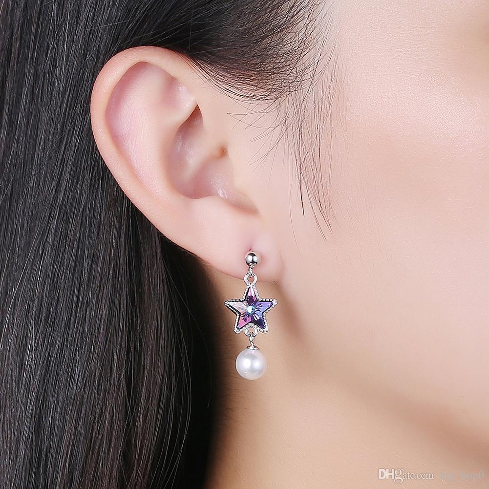 New Arrival Asymmetric Earrings Star with Blue Crystal Earrings Pure 925 Sterling Silver & Zircon Pearl Dangle Earrings Women Luxury Jewelry