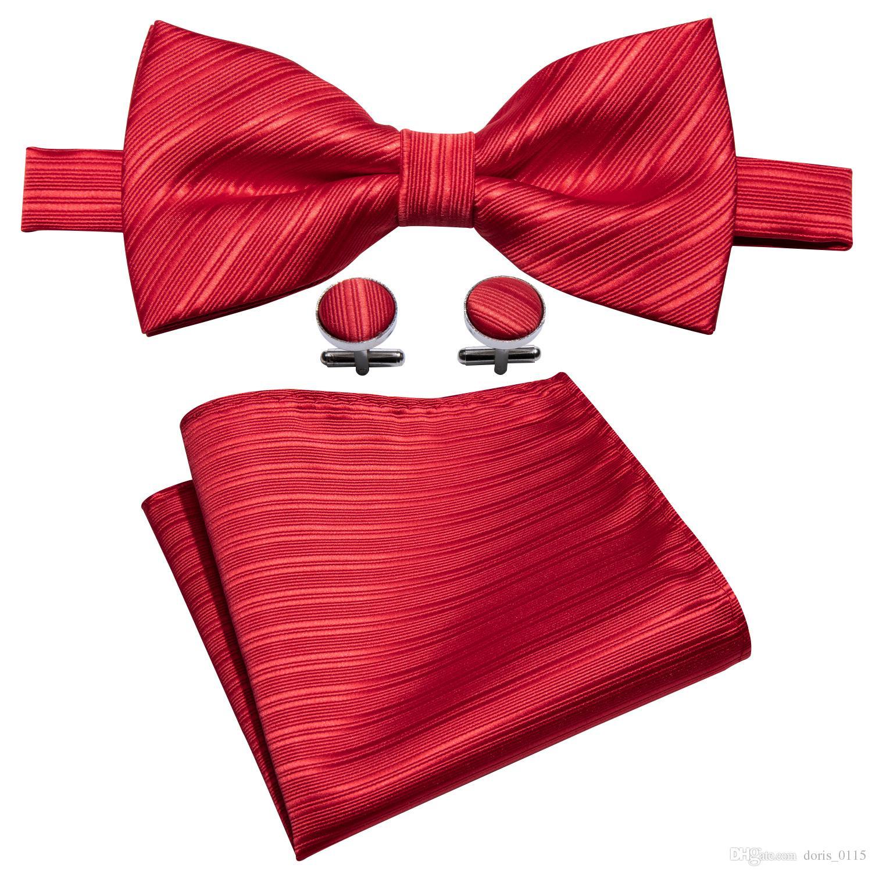 0bcac701990cb Rot Mens Fliege 100% Seide Design Taschentuch Manschettenknöpfe Luxus  Hochzeit Business Party LH-817
