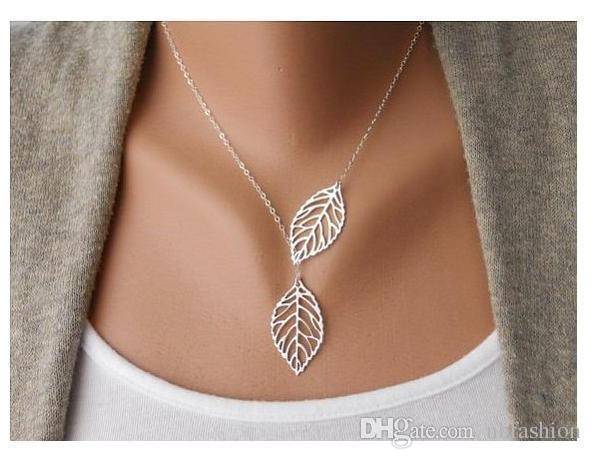 collar doble del collar del oro y de la plata del collar de la hoja del metal para las mujeres collar de cadena de la clavícula para la venta