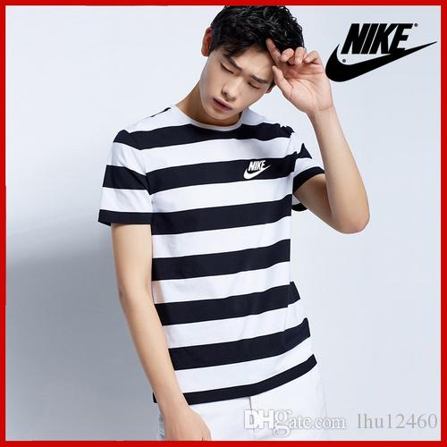 1d177633d1 Men's plain striped cotton short sleeved T-shirt navy black and white  striped round collar base shirt for young men and women