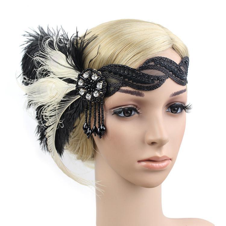e7fdfa91aa2eb Compre KMVEXO 1920 Flapper Headpiece Roaring 20s Gran Gatsby Diadema Negro  Feather Headband 1920s Aleta Gatsby Accesorios Para El Cabello S919 A   15.57 Del ...