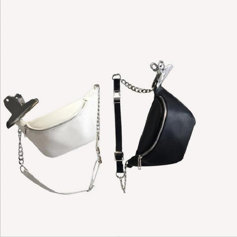 98d683442de0 Women And Man PU Leather Waist Bag Black White Pillow Chain Belt Bags  Ladies Waist Fanny Packs Man Bags Satchel Bags From Mingbag001