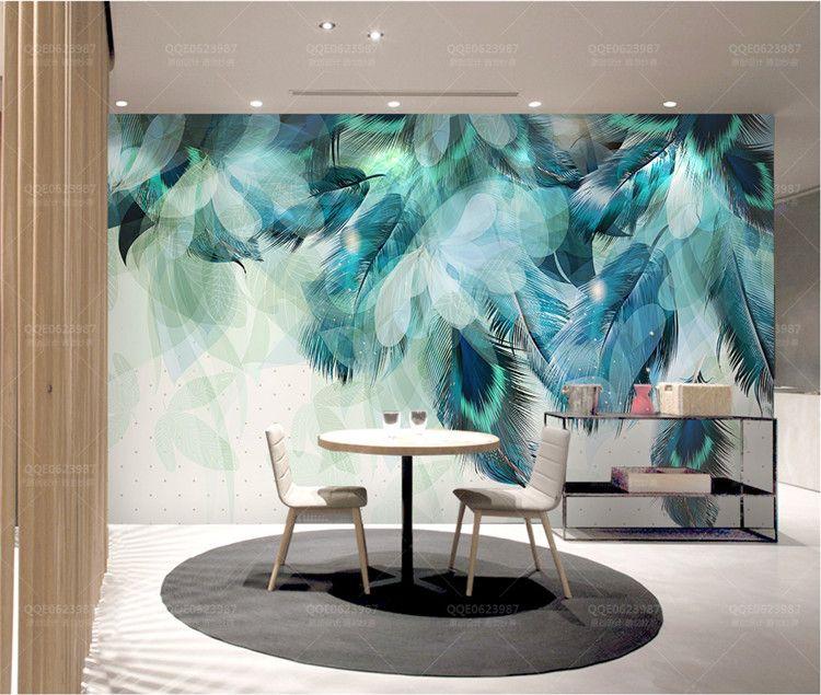 Mode Coloré Plume 3D Papier Peint Papier Peint Moderne Art Abstrait Salon Restaurant Fond Papier Peint Décor À La Maison Créative