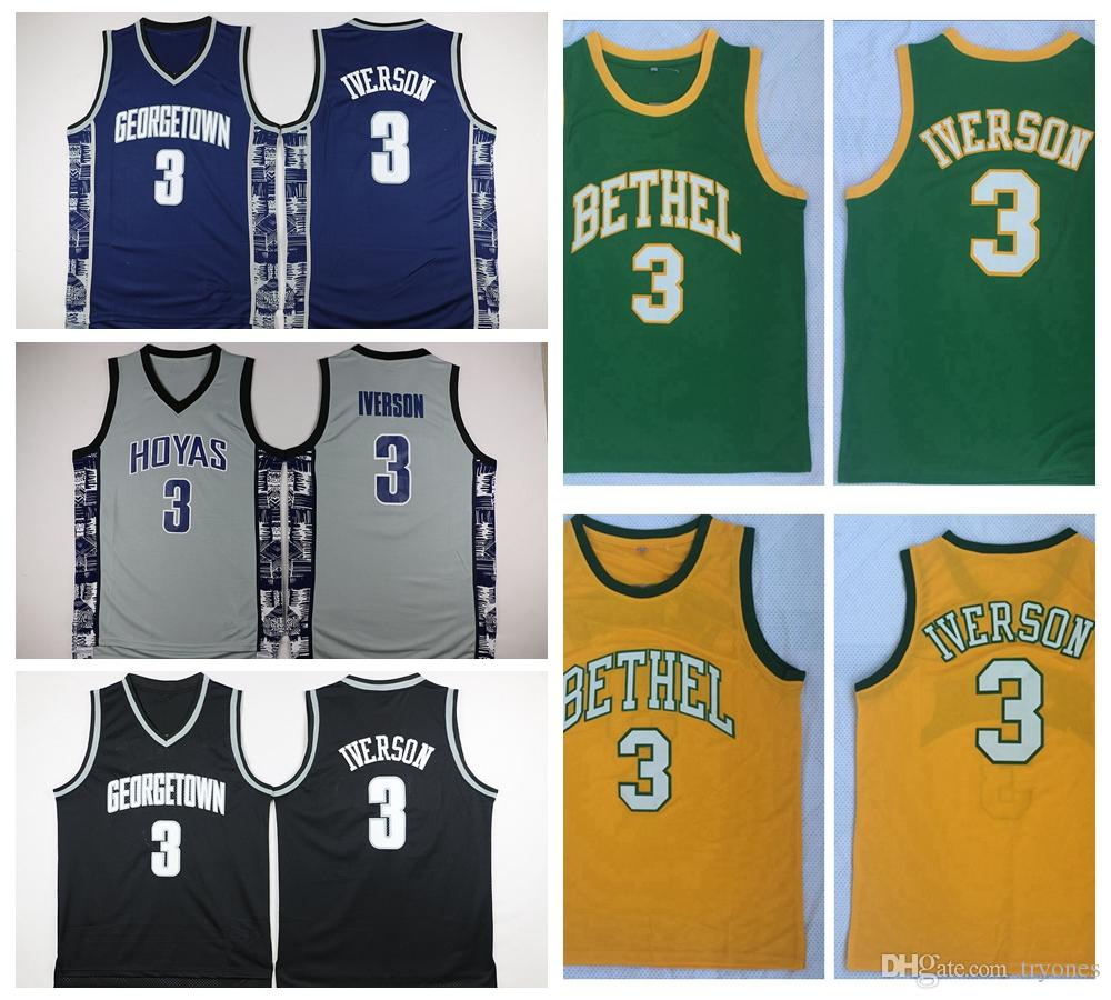 f89d1f43b2a8 2019 Mens Allen Iverson 3 Bethel High School Basketball Jersey Cheap Allen  Iverson Georgetown Hoyas College Stitched Basketball Shirts S XXL From  Tryones