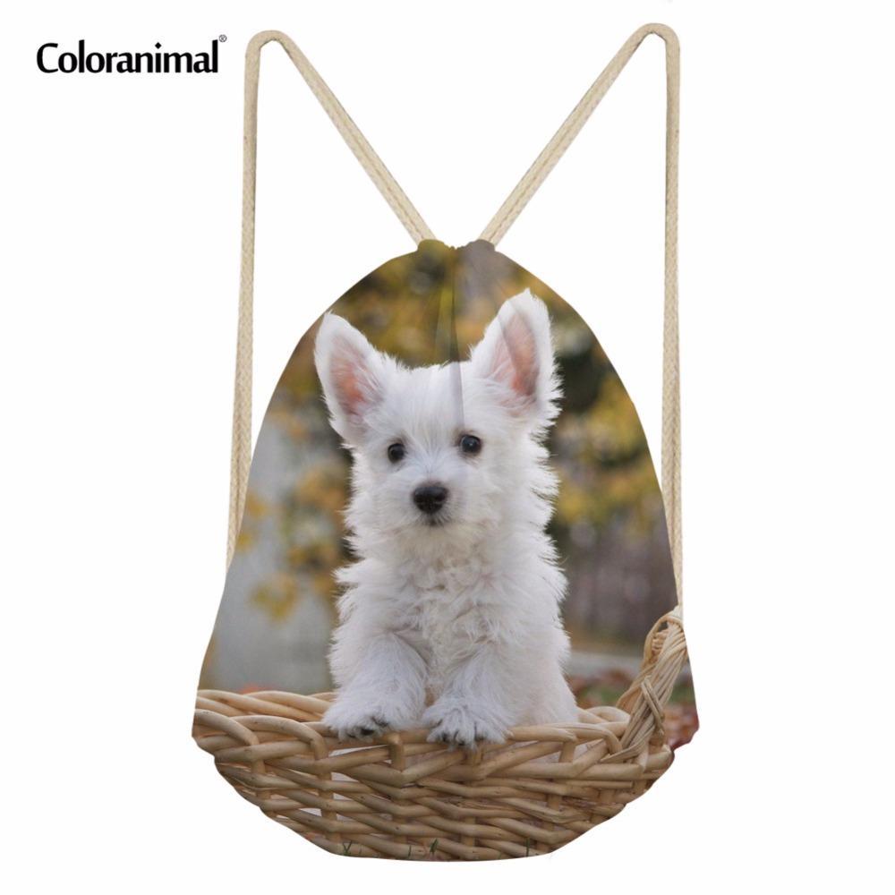 f2c9de0e1626 Coloranimal 3D Cute Pet Dog Pattern Drawstring Bag for Women Men Mini Sack  String Kawaii Westie Floral School Backpack Beach Bag