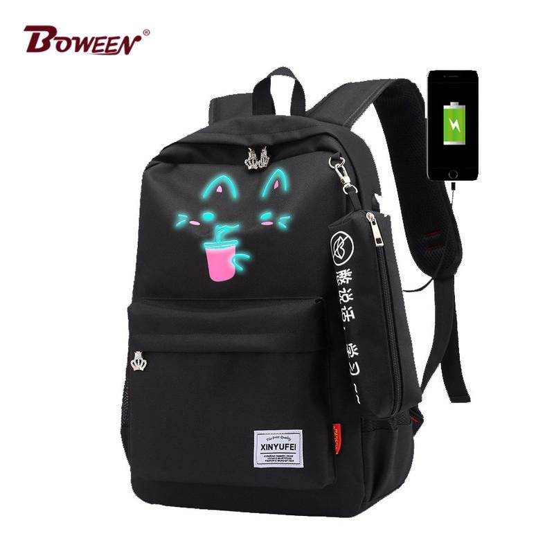 348f924397c8 Luminous School Bags For Girls Teenage USB Female Backpack Schoolbag Teen  Large Capacity Black Women Back Pack 2018 High Quality Y18110107 Boy  Backpacks For ...