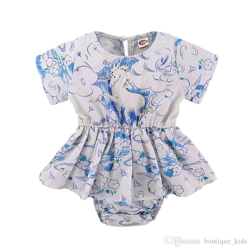 3276119146ed 2019 Baby Girls Clothing 2018 Summer Toddler Clouds Unicorn Print Ruffles  Baby Romper Dress Sunsuit Jumpsuit Playsuit Clothes Outfit For 1 4T From ...