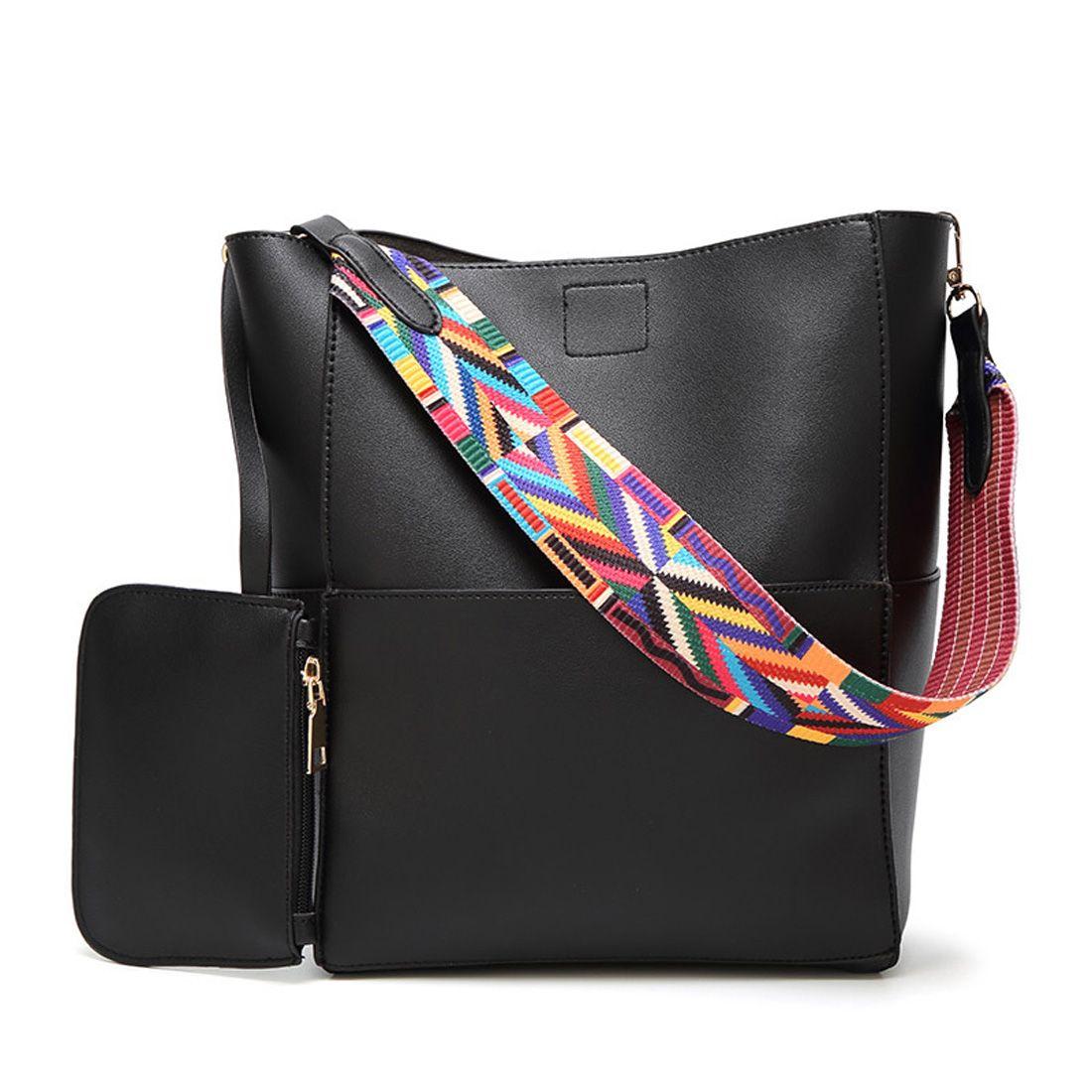 92d5db630894 Luxury Brand Designer Bucket Bag Women Leather Wide Color Strap Shoulder  Bag Handbag Large Capacity Crossbody For Shopping Crossbody Bags Messenger  Bags ...