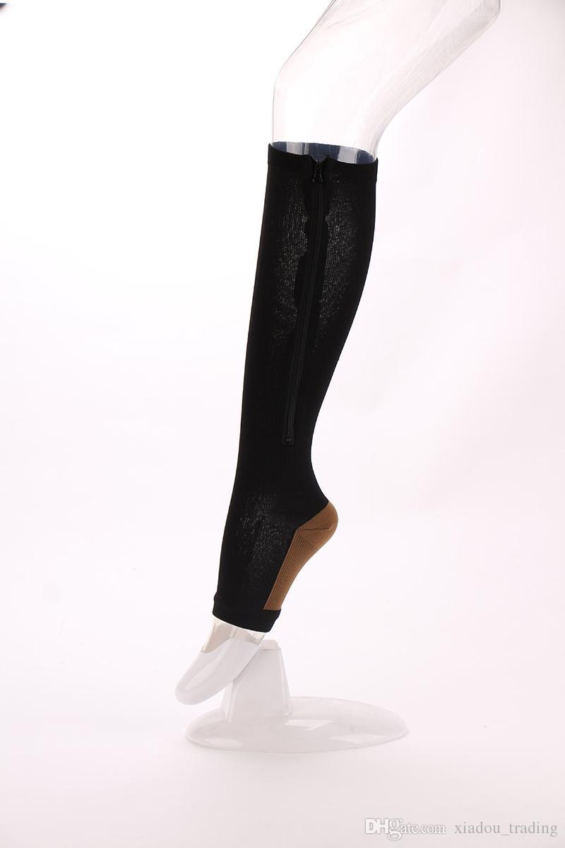 Hot Sales Zip Sox Compression Socks Zipper Leg Support Knee Open Toe Anti-fatigue Toe Protect Calf Open Toe Zipper Stockings Free DHL