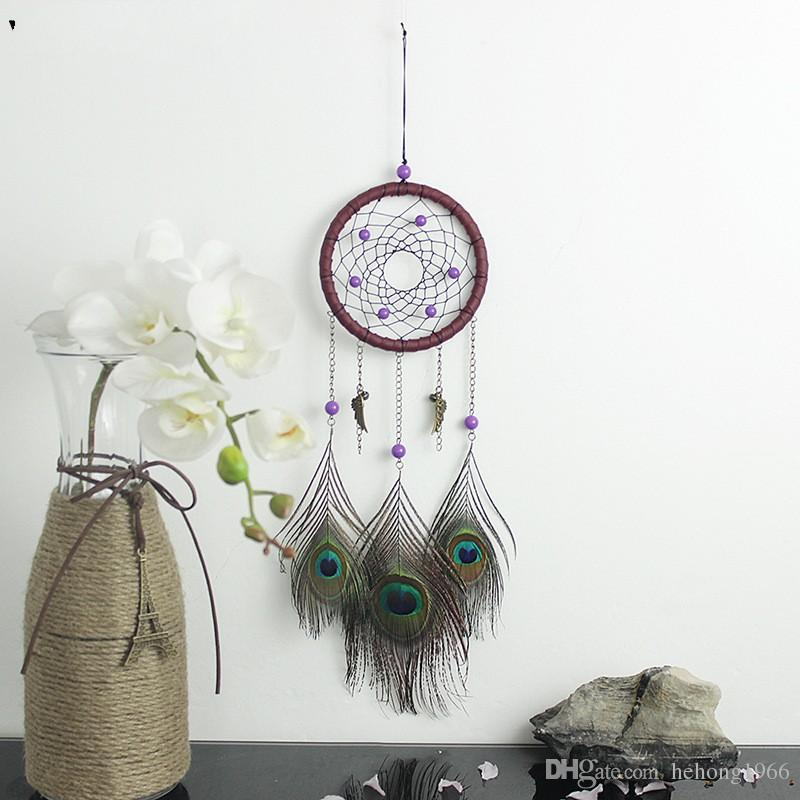 Classic Retro DreamCatcher Handmade Indian Peacock Feather Wind Chimes  Pendant Car Hanging Ornament Craft Wish Gift 12 3xr Y