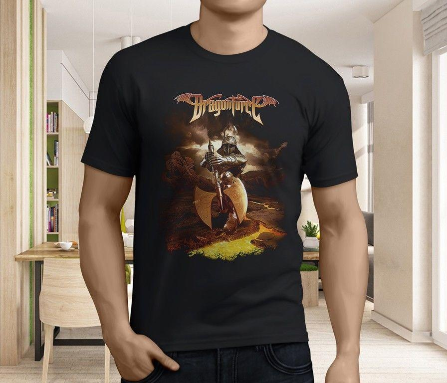 New Popular Dragon Force Metal Band Men's Black T-Shirt Size S-3XL