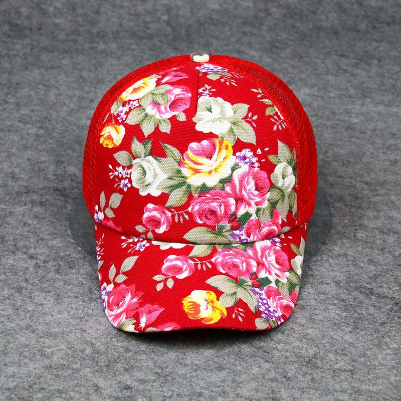 ba8e6af2c5b6d 2017 Fashion New Arrival Sun Hat Floral Printings Baseball Cap For Women  Summer Beach Snapback Mesh Caps With Colorful Flowers Trucker Caps Flat  Bill Hats ...