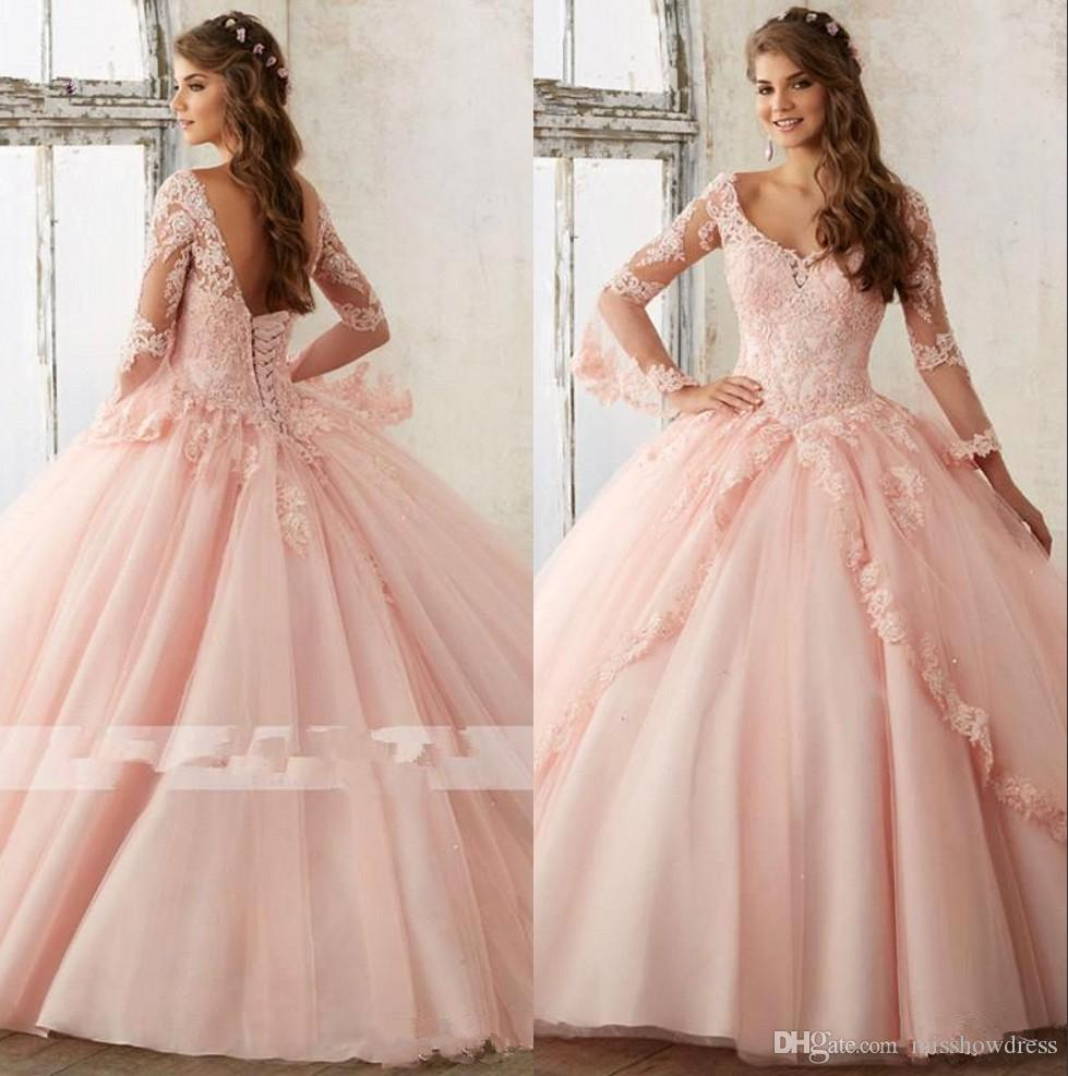 9155889f03b Long Sleeves Lace Quinceanera Dresses 2018 Flare Long Sleeves Tulle Lace  Applique Sweet 16 Party Prom Princess Gowns With Lace Up Back BA448 Dresses  Online ...