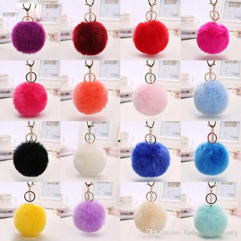 16 Colors Fluffy Fur Ball Key Chain Women Car Bag Key Ring Pompom Fur Keychains Artificial Rabbit Fur Keychain