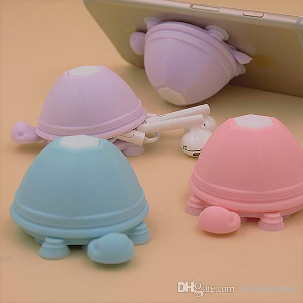Turtle Silicone Cell Phone Holder Suction Cup Stand Earphone Cable Cord Wrap Strong 12 Suction Cups Base Tortoise Shape Winder Stand