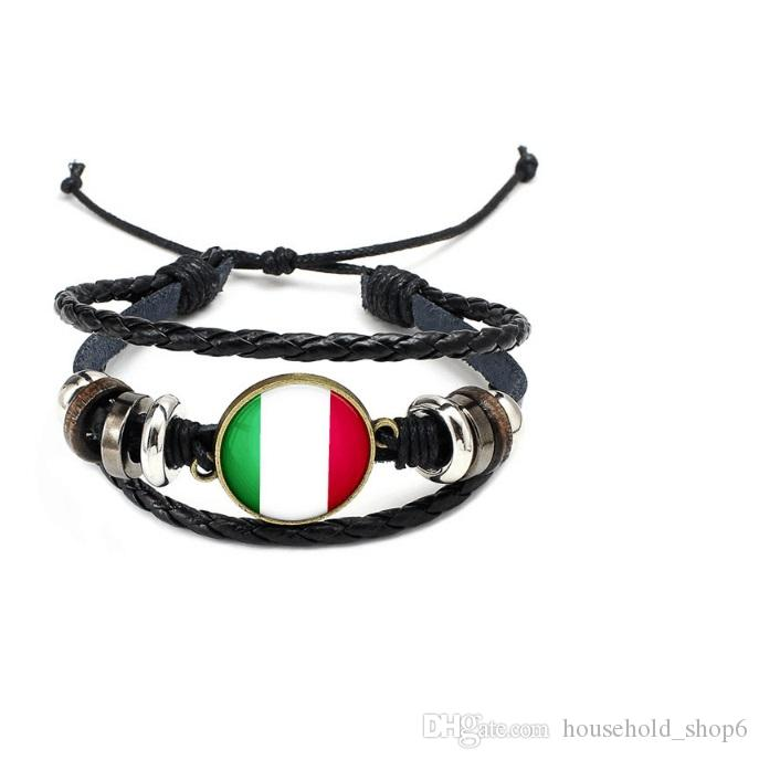 hot World Cup 2018 National Wristband Flags Charm Bracelet Bangles Leather Braided Rope Bracelet Beads Cuff Women Men Gift Dropship