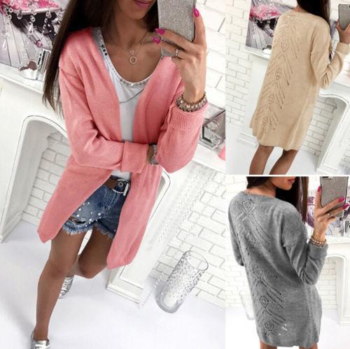 7d9a5994649f Compre REINO UNIDO Para Mujer Suéter De Punto Jersey Largo Abrigo Damas De  Punto Top Cardigan Escudo A $28.95 Del Wanglon03 | DHgate.Com