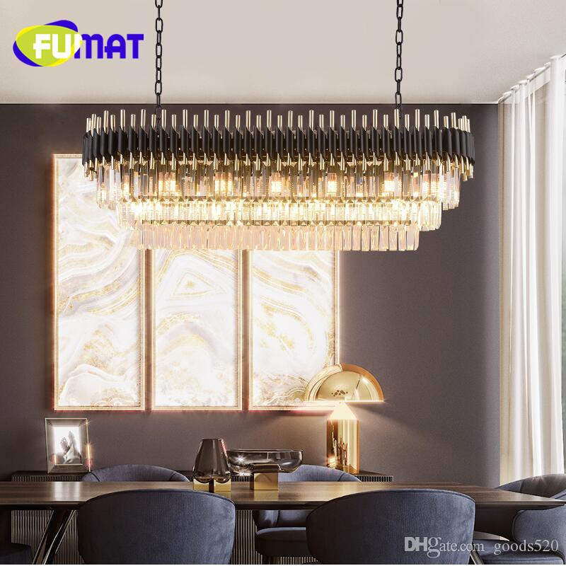 Light luxury crystal chandelier dining room chandelier rectangular table club bar Nordic modern luxury led lamps