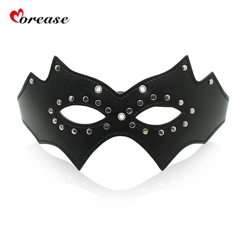 Morease Black Mask Eye Blinder Flirting Leather Blindfold Fetish Adult Game for Couples Slave Queen Role Play Erotic Sex Toy S924