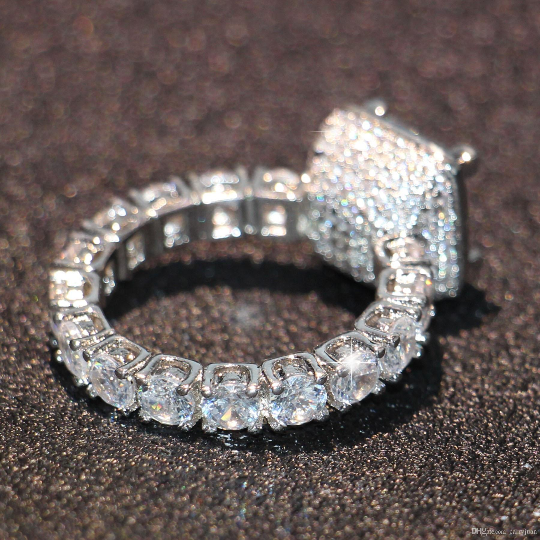 Victoria Wieck Brand New Sparkling Jewelry 925 Sterling Silver Princess Cut 5A Cubic Zirconia CZ Crystal Women Wedding Band Ring Set Gift