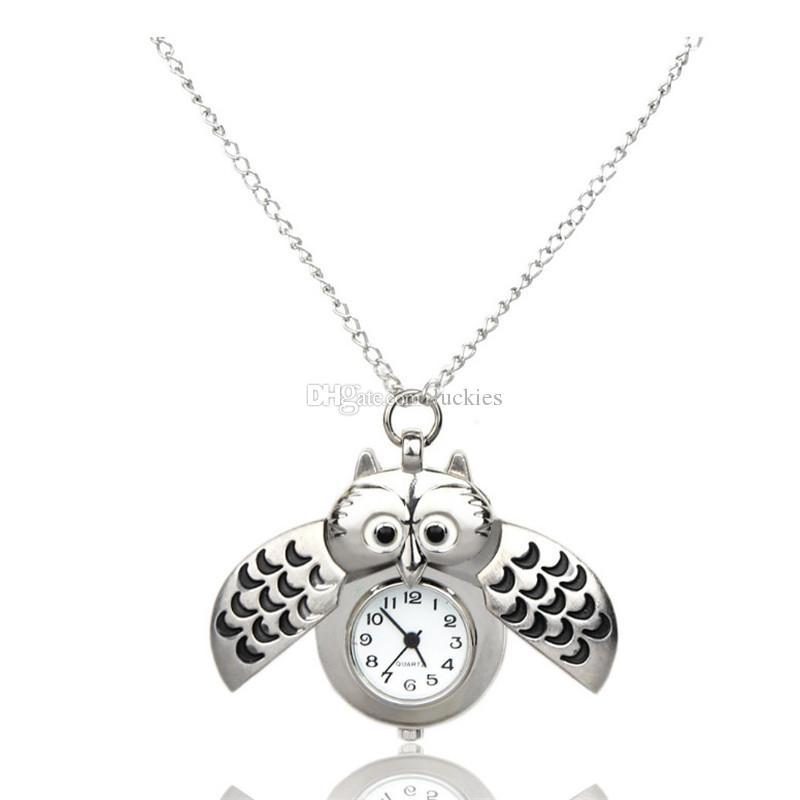 Elegant Silver Quartz Fob Pocket Watch With Sweater Necklace Chain Unisex Vintage Slide Smart Owl Pendant Antique Pocket Watch