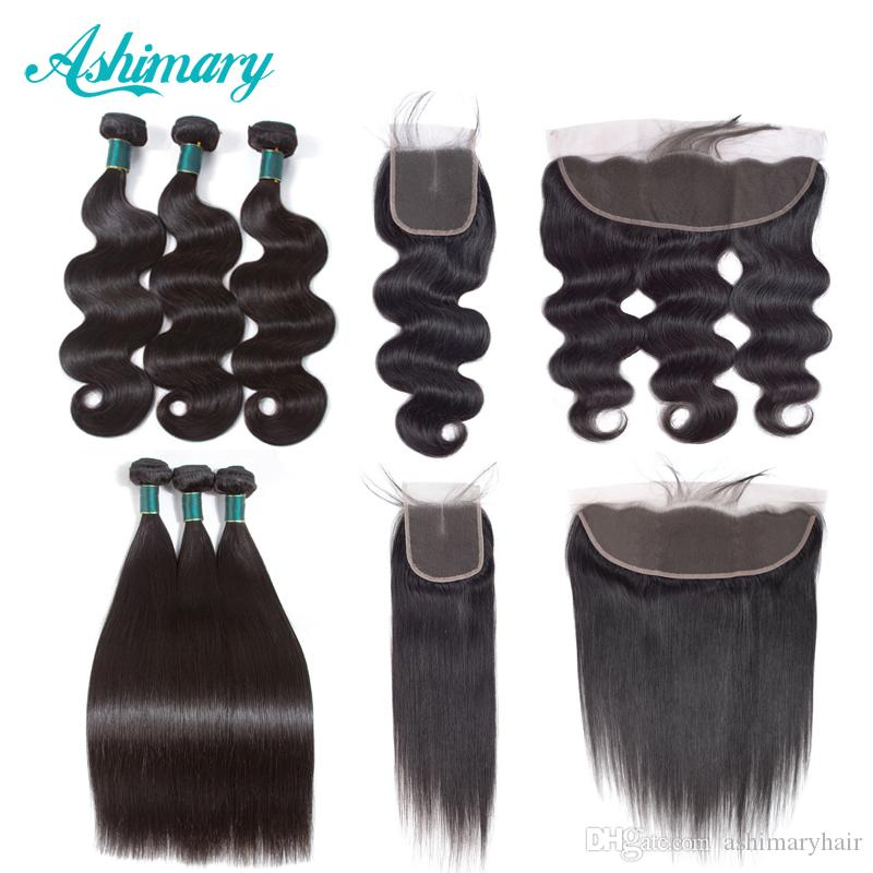 Ashimary Cheap Brazilian Body Wave 3 Bundles with Frontal Body Wave Straight Hair Extensions and Closure