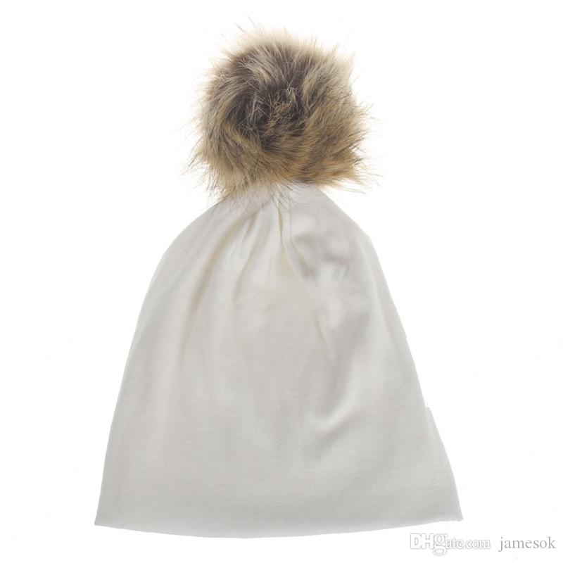 Winter Fashion Style New Unisex Newborn Baby Boy Girl Toddler Infant Cotton Soft Cute Hat Cap Beanie with fur ball TO350