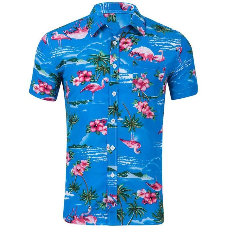 5764a34a9091 2019 2018 New Men S Short Sleeve Hawaiian Shirt Summer Style Holiday Men  Casual Beach Hawaii Shirts Fit Slim Male Blouse Summer Top From Vikey10