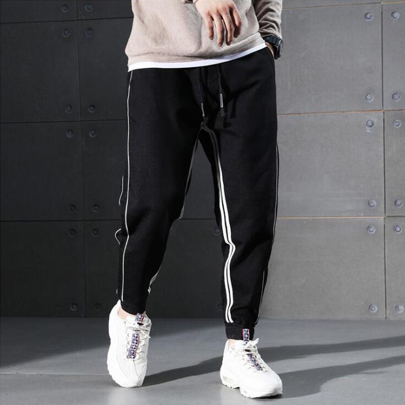 2062ddeb5ab4 2019 2018 Autumn Fashion Men Jeans Black Color White Stripe Spliced Jogger  Pants Punk Style Elastic Waist Loose Fit Hip Hop Jeans Men From Baicao, ...