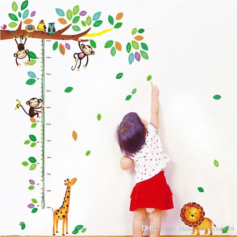 cartoon giraffe monkey trees height wall sticker baby room children