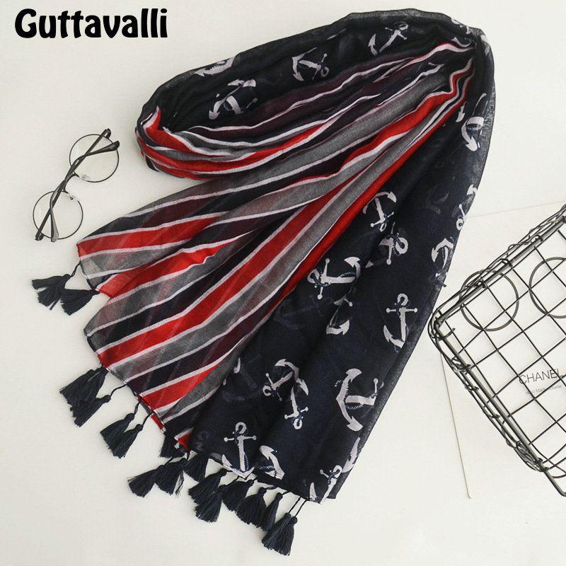 Guttavalli Women Red Black Stripes Tassels Soft Long Shawl Sunscreen Female Cotton Pirate Anchors Scarf Bohemia Chevron Scarves