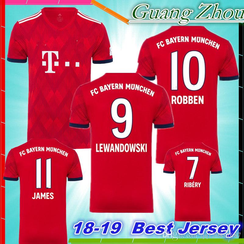 2019 NEW 2019 MULLER LEWANDOWSKI ROBBEN RIBERY James Home Red Soccer Jerseys  18 19 ALONSO VIDAL KIMMICH ALABA BOATENG Football Shirts From Qq120811687 6846f316e