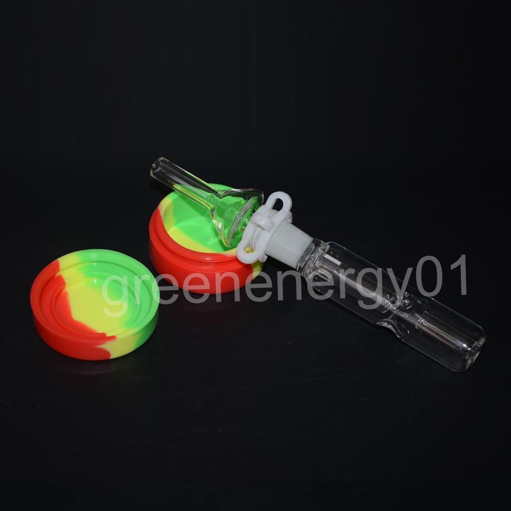 Barattolo di silicone casuale della canna da zucchero della canna da zucchero del mini tubo di vetro del corredo del minatore di 14mm con il chiodo del quarzo