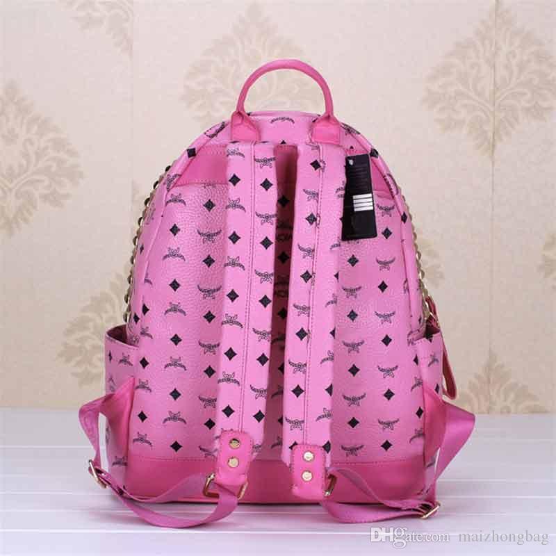 2018 lujo M marca nuevo diseñador de la llegada mochilas nuevo estilo Euramerican moda mujer pu cuero mochila escolar mochila de viaje # 1312