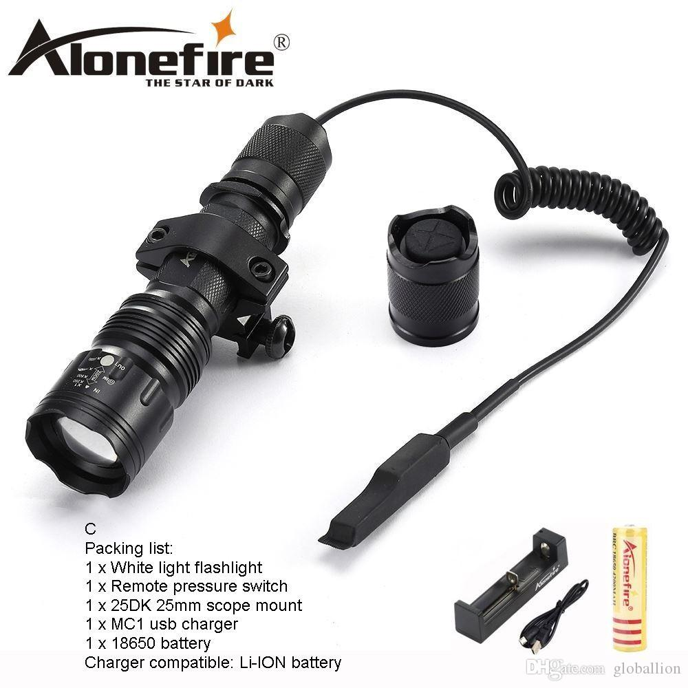 AloneFire TK104 CREE XM-L2 LED Tactical Flashlight Outdoor Camping Torch lamp tactical mount remote switch for Hnting 1X 18650 battery