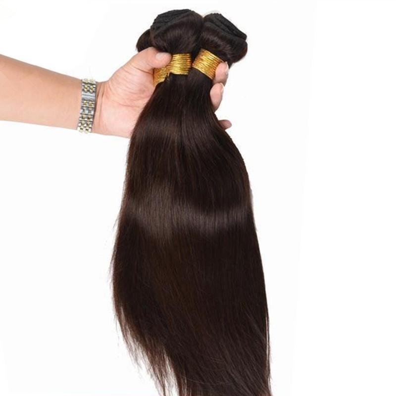 Sıcak satış # 2 Koyu Kahverengi renk jet balck Hint İnsan Saç Dokuma ipeksi düz bakire remy saç demetleri 3 Adet ücretsiz kargo