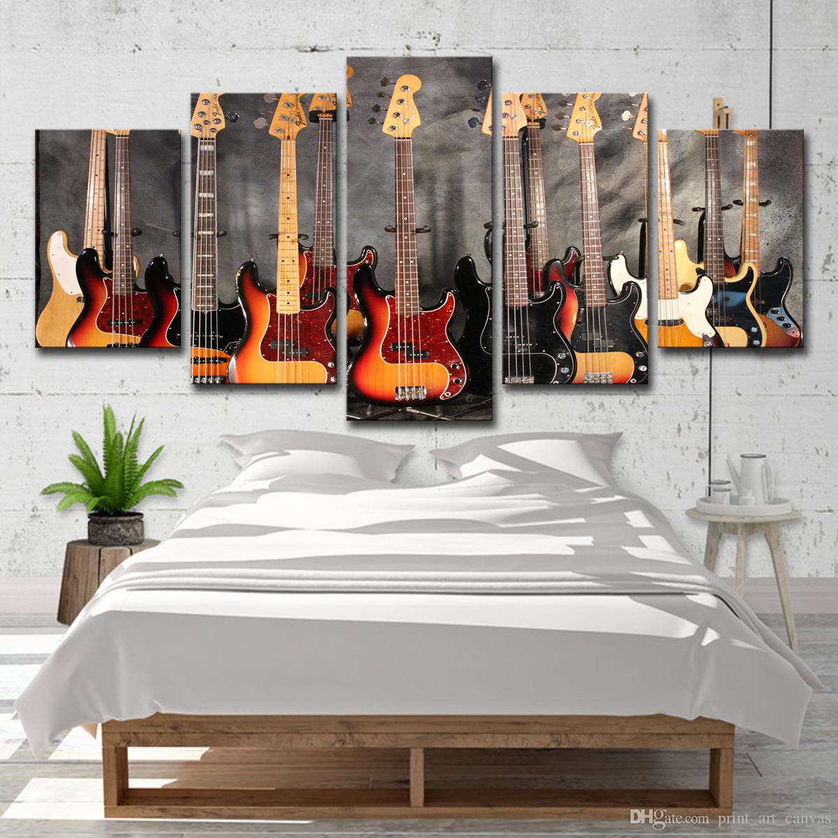 2018 Canvas Paintings Wall Art Prints Bass Guitar Collage Pictures Music Poster For Living Room Home Decor From Print 1641