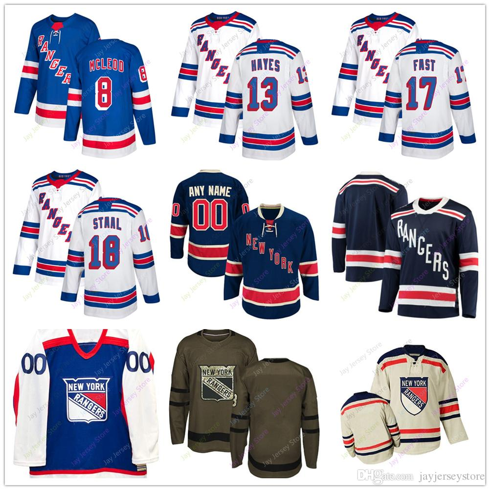 promo code 7dccf 97aac Cody McLeod Kevin Hayes Jesper Fast Marc Staal Jersey 2019 Men Women Youth  Kid Winter Classic New York Rangers C A Patch Salute to Service