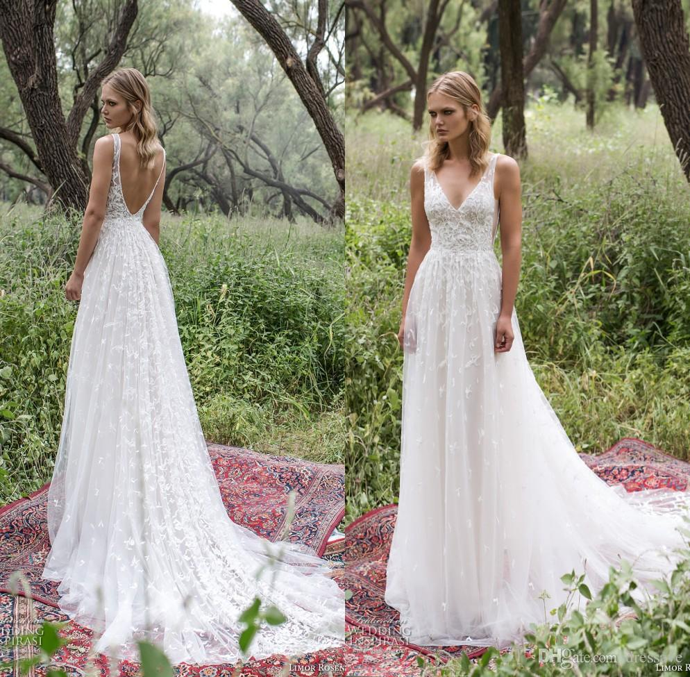 New Country Style Wedding Dresses 2019 Sexy V Neck