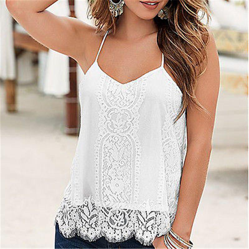 17943b7a3df070 2018 Sexy Women Off Shoulder Loose Casual Sleeveless Lace Tops Blouse  Ladies Summer Tops V Neck White Tank Size 6 14 From Smotthwatch