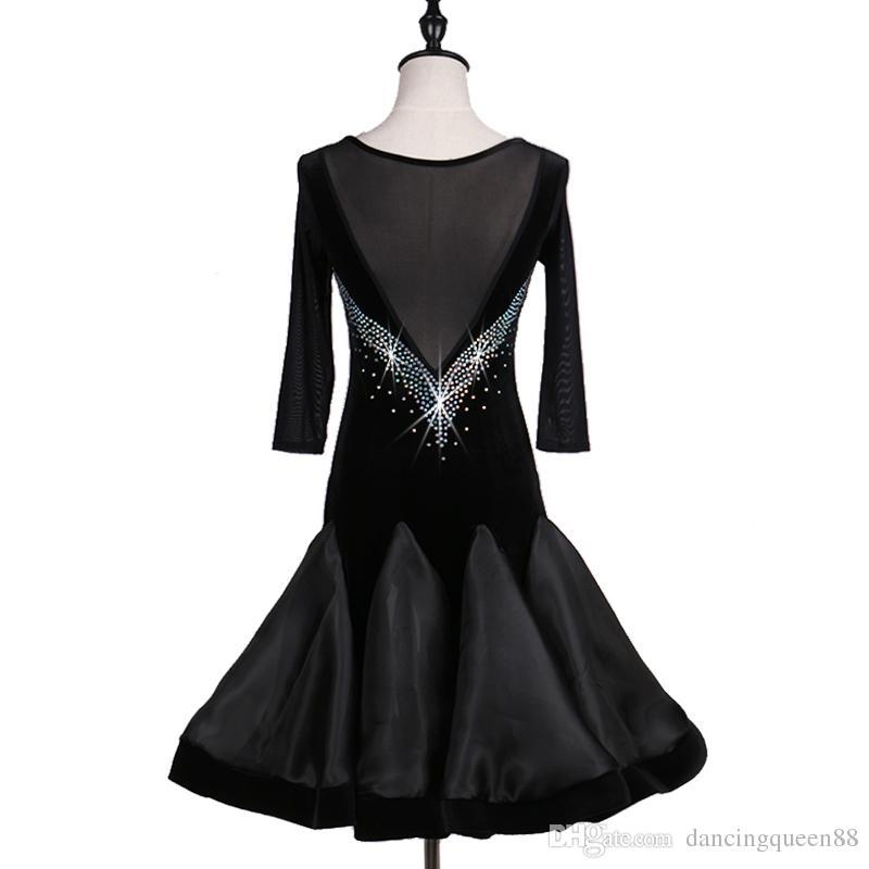 2018 Customize black latin dance costumes for women latino dress rumba dance dresses modern dance costumes women latin salsa dress