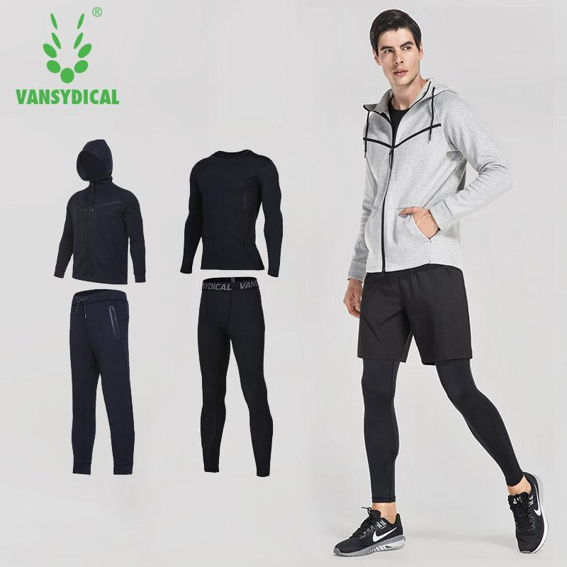 Compre Vansydical Mens Sports Suits Gym Ropa Deportiva Winter Running Suits  Hombres Compresión Fitness Chándales Entrenamiento Footing A  78.4 Del  Alexandr ... e12480c718a87