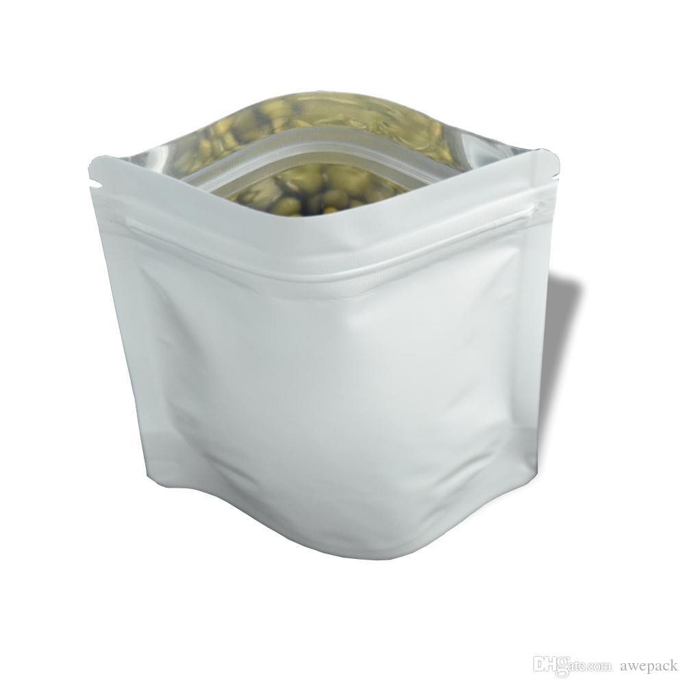 Il foglio di alluminio brillante bianco di 8.5 * 13cm sta sul sacchetto dell'imballaggio della chiusura lampo / Doypack ha asciugato il deposito di polvere del tè dell'alimento Mylar che imballa i sacchetti