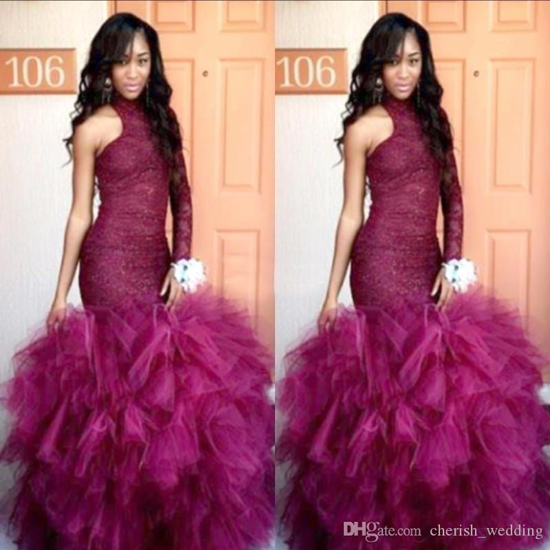New Lace Vintage Puffy Tulle 2017 Mermaid Tulle Prom Dresses Una spalla formale Party Gown Robe De Soiree maniche lunghe abiti da sera