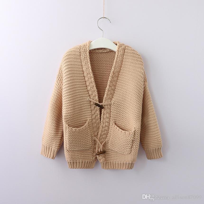 f0669b573de4 2018 INS Kids Knit Cardigan Sweaters Jacquard Horn Button Pockets ...