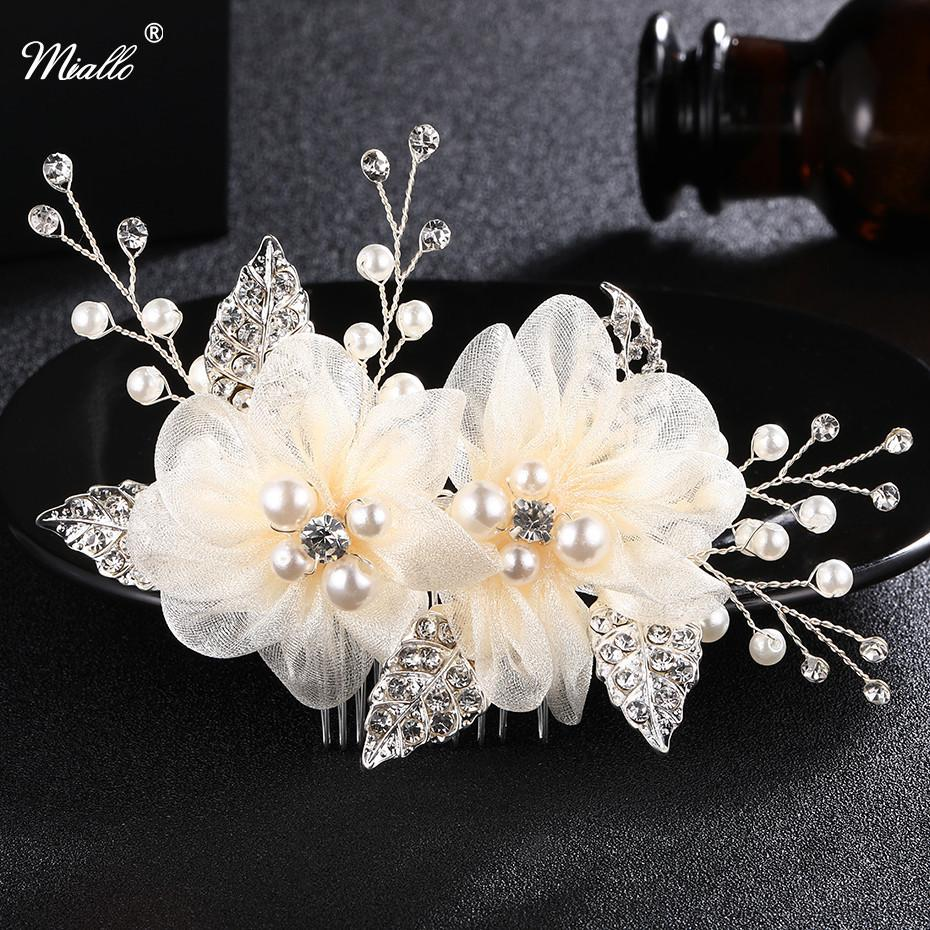 2018 Miallo Charm Ivory White Silk Flower Hair Comb For Brides